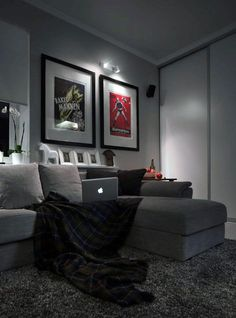 grey carpet in living room decor to match brown sofa dark for the home 2019 mens bachelor pad with color scheme