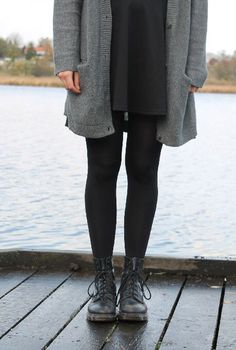 "Outfit uploaded by Juliewa on We Heart It ""Cozy Grunge: Doc Martens, leggins, sweater and boyfriend cardigan."" lol is cozy grunge a thing Mode Outfits, Grunge Outfits, Grunge Fashion, Look Fashion, Casual Outfits, Fashion Outfits, Fashion Black, Grunge Dress, 70s Fashion"