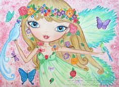 "'Goddess of Spring' 8"" x 10"" Spring Fairy Art Print by 'MartaDalloul' $15.00 ETSY<3<3GORGEOUS<3<3"