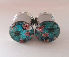 Plugs Ear Tunnel Real Flower 10mm 00g Teal Coral Peach Natural Girly Cute Unique Custom Alternative Floral Gauge Unusual Ear Tunnels