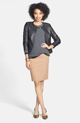 Halogen® Leather Jacket, Cashmere Sweater & Pencil Skirt