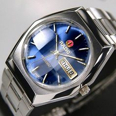 RADO PRESIDENT Mens Day Date Blue Dial AUTOMATIC 17 JEWELS Swiss Made Watch