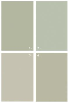 grey greens . benjamin Moore . 1 Croquet, 2 Aganthus Green, 3 Paris Rain, 4 Tree Moss