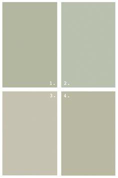 grey greens . benjamin Moore . 1 Croquet, 2 Aganthus Green, 3 Paris Rain, 4 Tree Moss
