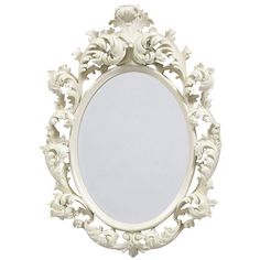 Oval Rococo Mirror - White Finish (£230) ❤ liked on Polyvore featuring home, home decor, mirrors, fillers, frames, decor, backgrounds, borders, embellishment and text