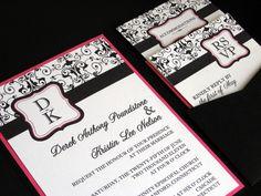 Modern Elegant Classy Hot Pink & Black Wedding by invitealicious, $7.00