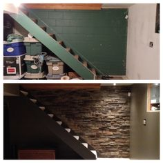 Basement stairs. Before and after. Ugly painted cinder block to beautiful faux stone veneer on the wall defending to the basement.