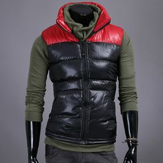 The item is a Waistcoat for men. The polyester material is very soft and comfortable. Classic Color Matching Stand Collar Down Feather Keep Warm Sleeveless Casual design. It absolutely can show your personal charm. The color of it just same as pictures show(Maybe a little different with the actua...