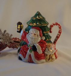 Santa and Tree CHRISTMAS TEAPOT by TEAandSHAKER on Etsy
