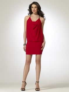 Red matte jersey dress with elastic drop waist and blouson top. Draped neckline. Gold bead straps form t-strap in back. Attached strapless jersey interior. 35 1/2 inch body length92% polyester, 8% spandexMade in the USAHand wash