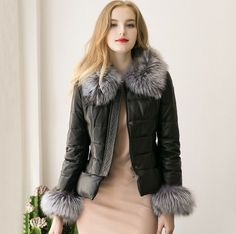 Women's Thicken Pu Leather Faux Fur Collar/Cuff Zipper Short Outwear Coat Jacket