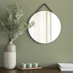 Black Round Wall Mirror on Maisons du Monde. Take your pick from our furniture and accessories and be inspired! Sage Living Room, Sage Green Bedroom, Sage Green Walls, Green Accent Walls, Green Rooms, Living Room Decor, Green Wall Decor, Green Home Decor, Diy Wanddekorationen
