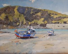 I don't usually like bright summer colours in a painting, but this scene was so lovely I had to paint it as it was. I like the wet sand especially. Watercolor Landscape, Landscape Paintings, Oil Paintings, Port Isaac, Amazing Art, Arts And Crafts, Creative, Sands, Cornwall