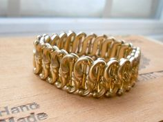 Vintage Gold Tone Stretch Bracelet  Ornate  by EntirelyApropos