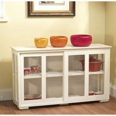 Simple Living Glass Door Stackable Cabinet