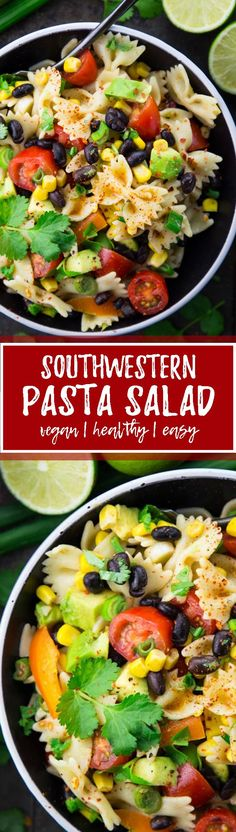 This vegan Southwestern pasta salad is one of my favorite summer recipes! I LOVE… This vegan Southwestern pasta salad is one of my favorite summer recipes! I LOVE bringing it to BBQs, potlucks, and picnics! It's super easy to make and SO delicious! Veggie Recipes, Pasta Recipes, Whole Food Recipes, Salad Recipes, Vegetarian Recipes, Cooking Recipes, Healthy Recipes, Coctails Recipes, Dishes Recipes