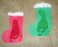 Handprint and Footprint Arts & Crafts: Footprint Stockings- kids Christmas craft