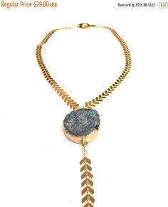 Gold Necklace Quartz Necklace Geode Necklace Blue Agate