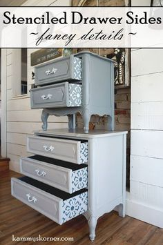 The best DIY projects & DIY ideas and tutorials: sewing, paper craft, DIY. French Provincial Nightstands With Stenciled Drawers gray and white chalk paint with polycrylic Refurbished Furniture, Paint Furniture, Repurposed Furniture, Furniture Projects, Furniture Makeover, Furniture Decor, Furniture Design, Chair Makeover, Furniture Refinishing