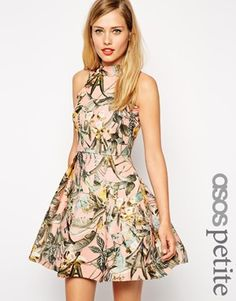 ASOS PETITE Structured Skater Dress with High Neck in Tropical Print