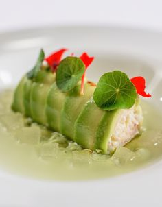 With delicate shades of green and white, Martin Wishart's impressive avocado and crab starter recipe looks stunning on the plate.