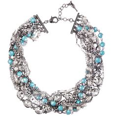 Turquoise + Chain Torsade Necklace