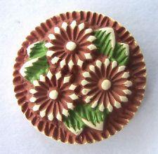 Vintage 1930s Floral Buffed Celluloid Button