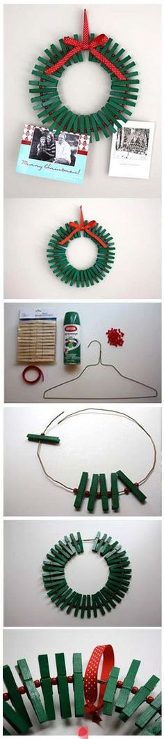 Christmas clothespin wreath- apparently I need to be artsy now that the fridge won't take magnets to hold our Xmas cards
