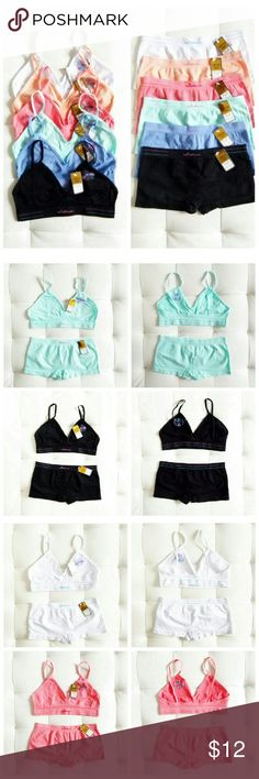 """MAD SALE! Matching Bralette & Underwear Set This matching bralette and underwear set is thee most comfy, cozy set like ever. I personally own 10 sets, I wear them everyday with Everything or by itself. When that time of the month comes I love to be extra comfy, these do the job! They have MEGA STRETCH! and contour to the body Amazingly!  1. White 2. Peach 3. Salmon 4. Mint 5. Cornflower  6. Black  Bralette: A - C cup/ small D cup/ Back 28-40""""  Underwear: Fits Small/Med  I Ship Mon/Wed/Friday…"""