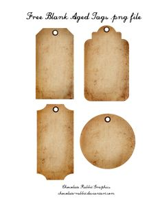 Free Aged Tags - PNG  Freebie by chocolate-rabbit.deviantart.com on @deviantART