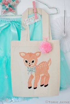 Flora the Fawn Mini Cotton Tote Bag with Pom Pom Cotton Tote Bags, Reusable Tote Bags, Funny Bunnies, Craft Tutorials, Etsy Store, Children, Kids, Candy Sweet, Christmas Gifts