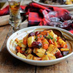 "Roasted ""Tartan Veggies"" with Smoked Sea Salt, Honey and Thyme for Burns Night."