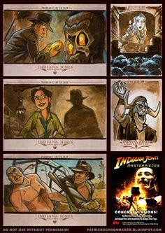 TOPPS Indiana Jones Heritage sketch cards Patrick Schoenmaker http://patrickschoenmaker.blogspot.com.es/2008/11/indy-masterpieces-sketchcards.html
