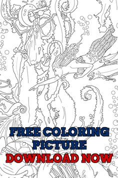Shes A Beautiful Mermaid Looking For Treasure In The Deep Blue Ocean Based Off Of My Fantastic Fairy Tales Adult Coloring Book