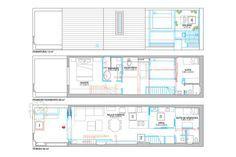 Nova ordem. (1) Com a escada em outro ponto, a sala de estar cresceu, e surgiu espaço para um escritório no andar de cima (2). Ali, a localização dos ambientes também mudou, e a circulação foi otimizada (3) – agora o acesso ao quarto dos fundos acontece por uma passarela (laje - 4) à direita da casa, medida que franqueia acesso ao pequeno banheiro. Ideal para espaços sem janelas como este, o rasgo no teto garante mais claridade e ajuda a ventilar a cozinha (5). Área: 122 M2; construção: TM…