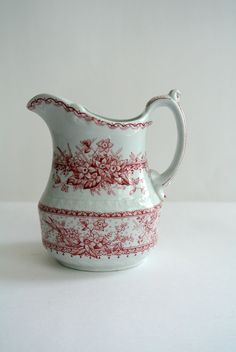 Johnson Bros. CREAMER- Red Transfer-Ware Ironstone-Made in England-Lace Pattern