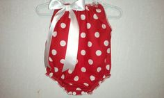 Red and white polka dot bubble Romper Available in by SewLuvingIt, $12.00