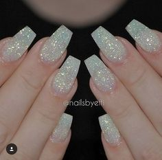 Holo glitter tip long coffin nails by nailsbysab holographic white matte nails with diamond glitter repost prinsesfo Images
