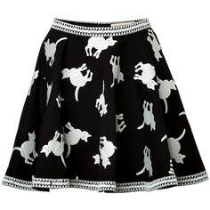 ELLE SASSON Cotton Cat Print Circle Skirt (1 625 LTL) found on Polyvore
