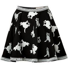 ELLE SASSON Cotton Cat Print Circle Skirt found on Polyvore