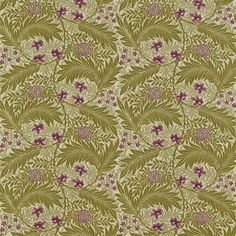 Larkspur Upholstery Fabric Woven upholstery fabric in beige green and plum with raised chenille flower and leaf design