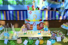 1 year birthday party @ Gold Reef City. blue, green and yellow themed birthday http://elegantkidsevents.webs.com/