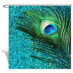 Unique Aqua Peacock Shower Curtain