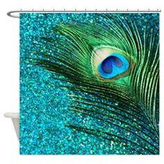 Unique Aqua Peacock Shower Curtain