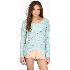 Tobi Krista Crochet Sweater ($22) ❤ liked on Polyvore featuring tops, sweaters, mint, blue sweater, blue knit sweater, knit sweater, crochet knit top and crochet knit sweater