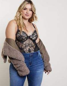 Plus Size Romantic Eyelash Lace Bodysuit - Plus Size Fashion Bodysuit – Features eyelash lace at the edges, underwire, and bra-style seaming. Body Suit Outfits, Curvy Outfits, Mode Outfits, Plus Size Outfits, Plus Size Concert Outfits, Skirt Outfits, Bodysuit Outfit Jeans, Pullover Outfit, Bodysuit Fashion