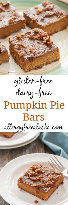 Gluten Free Dairy Free Pumpkin Pie Bars