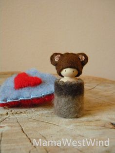 Valentine Bear Necklace, waldorf Valentine Doll, Heart Pouch, Small Peg Doll, red, brown, blue, patterned wool, wood, eco toy