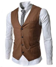 Add flair to your business attire with this Fashion Dress Single Breasted Men's Waistcoat. It features four inset pockets, one on the left breast, two at the bottom and one above the bottom left pocke