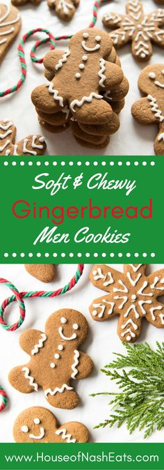 Soft & Chewy Gingerbread Men Cookies are perfectly spiced with molasses, cinnamon, ginger and other warm spices, and sweetened with brown sugar. The best way to spread Christmas cheer might be singing out loud for all to hear, but these cute little fellas Chewy Gingerbread Cookies, Holiday Cookies, Holiday Treats, Holiday Recipes, Christmas Recipes, Gingerbread Houses, Gingerbread Men Recipe Without Molasses, Icing For Gingerbread Men, Best Gingerbread Man Recipe